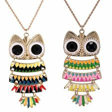 New Fashion Colorful Owl Pendant Sweater Chain Necklace Vintage Retro Jewelry AA
