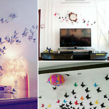 12pcs DIY 3D Butterfly Sticker Art Design Decal Paper Wall Stickers Home Decor
