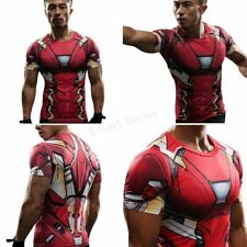 Marvel Superhero Compression Men's T-shirt Tight Gym Bodybuilding T Shirt Jersey