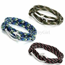 New Unisex Handcrafted Adjustable Nautical Fish Hook Multi-color Rope Bracelet