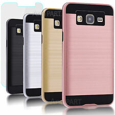 Hybrid Hard Skin Case Cover+ Glass Screen Protector For Samsung Galaxy On5 Phone
