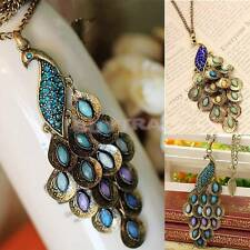 Charm Bronze Style Peacock Blue&Green Crystal Chain Pendant Necklace Hot TS