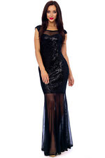 BLACK VELOUR SEQUIN EMBELLISHED MAXI FORMAL EVENING PARTY DRESS 8-16(WAS £69)