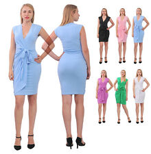 WOMEN'S CLASSIC SLEEVELESS SUMMER KNEE FAUX WRAP DRESS STRETCH PLUS DRESS