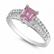 Wedding Engagement Ring Sterling Silver 1.20Ct Emerald Cut Pink Russian Ice CZ
