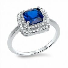 Solitiare Halo Wedding Engagement Sterling Silver 1.99 Ct Blue Sapphire Clear CZ