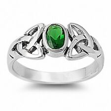 Celtic Solitaire Wedding Engagement Ring 925 Sterling Silver 1CT Emerald