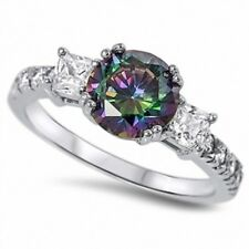 3 Stone Wedding Engagement Ring 3 Carat Topaz Russian CZ Solid 925 Sterling