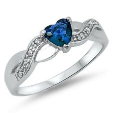 Wedding Engagement Heart Ring Blue Sapphire Clear CZ Solid 925 Sterling Silver