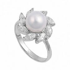 Ladies Wedding Engagement Ring 925 Sterling Silver Simulated Pearl Russian CZ