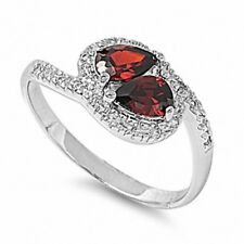 Ladies Stone Halo Ring 925 Sterling Silver 1 Ct Pear Red Garnet Russian CZ