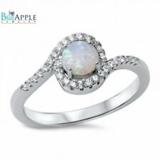 Solitaire Dazzling Wedding Engagement Ring 925 Sterling Silver Lab White Opal CZ