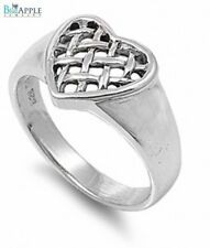3mm Basket Weave Design Heart Valentines Day Band Ring Solid 925 Sterling Silver