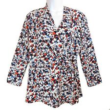 Women's Long Sleeve Multi Color Floral Wrap Blouse Top Charter Club S, M New
