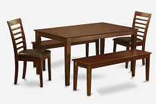 5 PC dining table set-Dining room table and 2 Chairs and 2 Benches