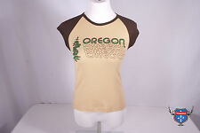Womens OREGON license plate American Apparel brown slim fit 4377 t-shirt S M L