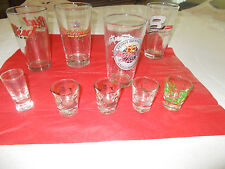 LOT OF BUDWEISER RACING GLASSES AND DESIGNER AND STATE SHOT GLASSES