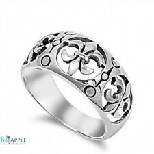 Fleur De Lis Band Ring Solid 925 Sterling Silver Simple Plain Royal Gift