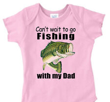 "PINK GIRLS ""Can't Wait To Go FISHING with My DAD"" Bass Fishing Youth T-Shirt"