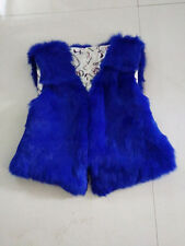 020178 New Womens Real Rabbit Fur Vest big fur hood Waistcoat Winter Coat Jacket