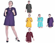 MARYCRAFTS CASUAL WOMENS SILK COTTON LONG SLEEVE SHIRT TUNIC DRESSES BLOUSE TOP
