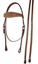 Tan Weave Leather Western Horse Bridle Cob or Full Size
