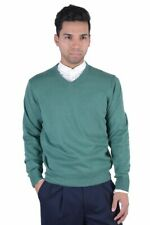 Pierre Balmain Green Wool Cashmere V-Neck Pullover Sweater Sz M L XL 2XL
