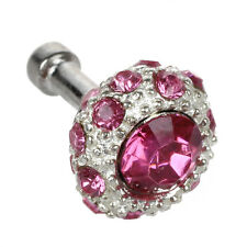 B3 Bling Fuchsia Crystal 3.5mm Earphone Anti Dust Plug Stopper Apple iPhone