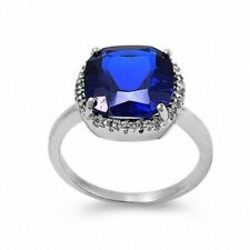 Cocktail Wedding Engagement Ring Sterling Silver 6Ct Blue Sapphire Russian CZ