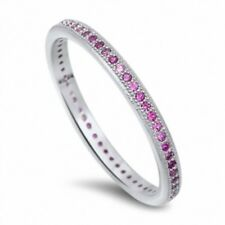 2MM Stackable Ladies Wedding Engagement Ring 925 Sterling Silver Pink Ruby