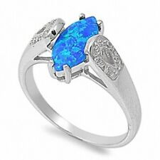 Marquise Cut Wedding Engagement Ring 925 Sterling Silver 0.50ct Blue Lab Opal