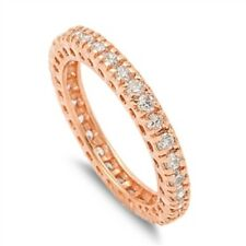 3mm Stackable Full Eternity Wedding Ring Rose Gold Sterling Silver Russian CZ