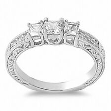3 Stone Filigree Wedding Engagement Ring 925 Sterling Silver 1.60ct Russian CZ