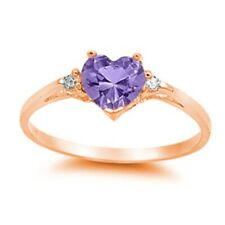 Heart Wedding Engagement Ring 925 Sterling Silver Rose Gold Amethyst Russian CZ