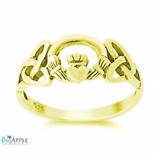 Celtic Knot Claddagh Wedding Engagement Ring Yellow Gold 925 Sterling Silver