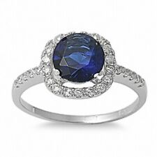 Halo Solitaire Wedding Engagement Ring Sterling Silver 2.25Ct Sapphire Clear CZ