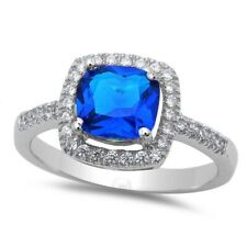 Solitaire Wedding Engagement Ring 925 Sterling Silver 1.24CT Blue Sapphire CZ