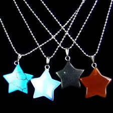 Lots Natural Gemstone Star Pendant Necklace Stone Charm Jewelry DIY Wholesale