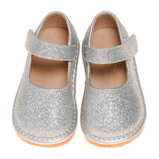 Girl Sparkle Mary Jane Squeaky Shoes Silver Toddler Size 1-7