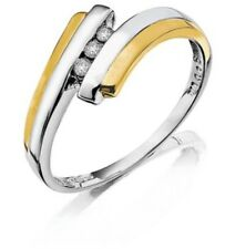 9CT GOLD LADIES DIAMOND ENGAGEMENT WEDDING RING WHITE AND YELLOW GOLD SIZE N NEW