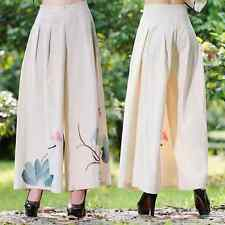 Women Wide leg pants Flower color Cotton linen zipper trousers summer long pants