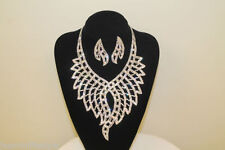Ladies Bollywood Crystal Diamante Necklace Bridal Prom Party Costume Jewellery