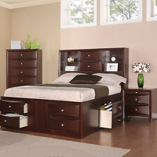 QUEEN Platform Bedroom Set Modern Bedroom 4 Pcs Storage Bedroom Set with Drawers