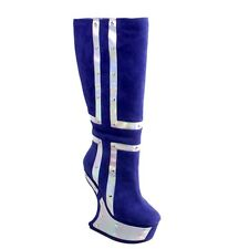 New Women's Knee High Boots Heel Less Gaga Wedge Pearly Cross Plates Blue 5.5-9