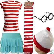 NEW SEXY WHERE'S WALLY SET RED WHITE HAT AND GLASSES BOOK WEEK DAY FANCY DRESS