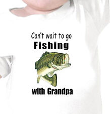 """CAN'T WAIT TO GO FISHING WITH GRANDPA"" BASS FISHING Infant Tee or Youth T-Shirt"