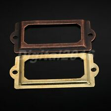 Antique Brass Kitchen Drawer Cabinet Frame Label Tag File Name Card Holder 12pcs