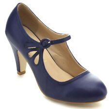 Women's Round Toe Pierced Mid Heel Mary Jane Style Dress Pumps BLUE
