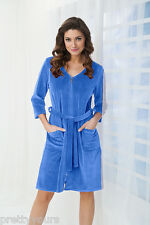 Women's Cotton, Dress-Style Bath Robe, Housecoat Dressing Gown, Zip Up and Belt