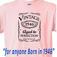 """70th BIRTHDAY OLD WESTERN Cowgirl PINK T-Shirt """"Vintage 1946 Aged To Perfection"""""""